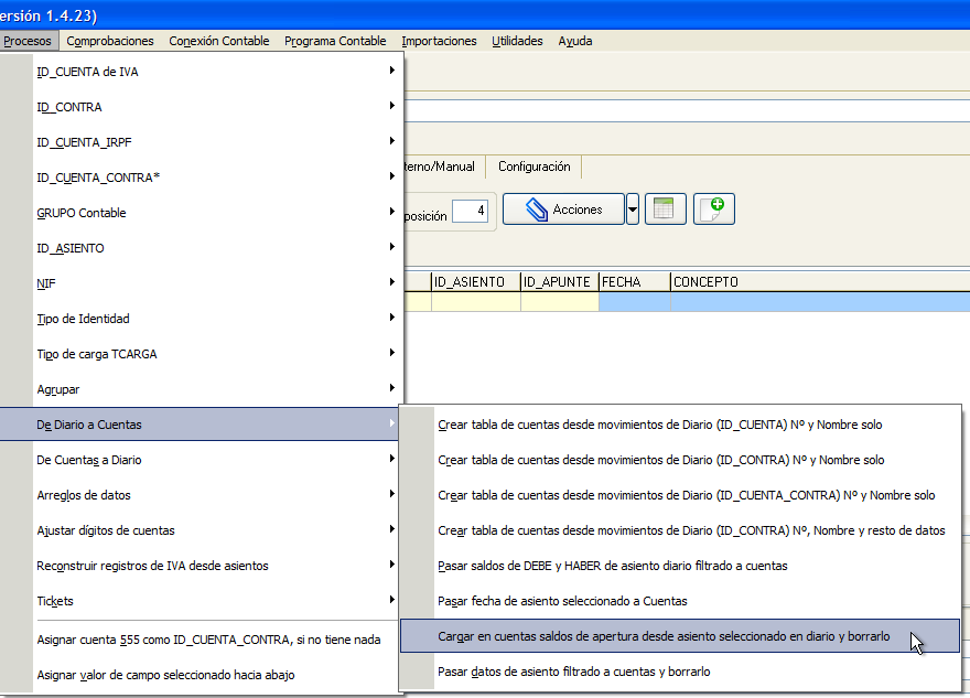 Traspaso de contabilidad de contaplus a a3eco a3con o for Asiento apertura