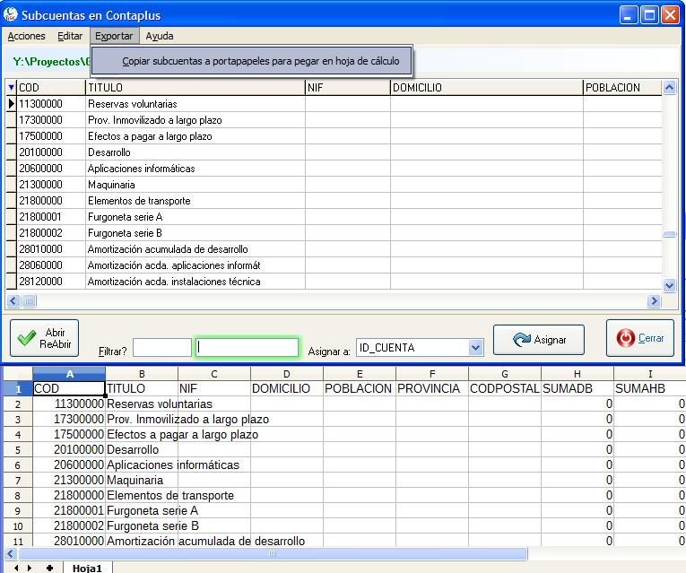 Exportar subcuentas y diario a hoja de cálculo | Criterium